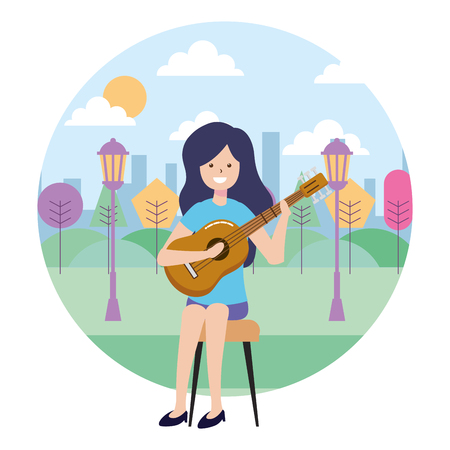 woman playing guitar in the park vector illustration