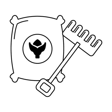 sack soil and rake on white background vector illustration Ilustrace
