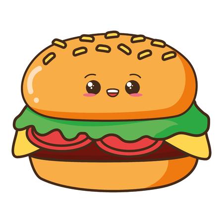 Ilustración de vector de personaje de dibujos animados de comida de hamburguesa