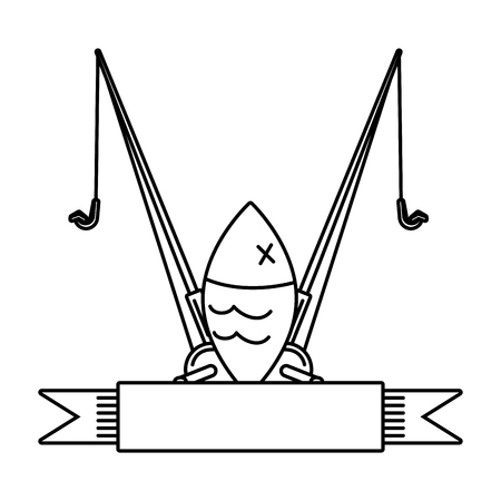 fish and fishing rod on white background vector illustration