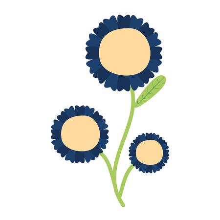 Blume mit Stiel und Blättern mit weißem Hintergrund-Vektor-Illustration Vektorgrafik