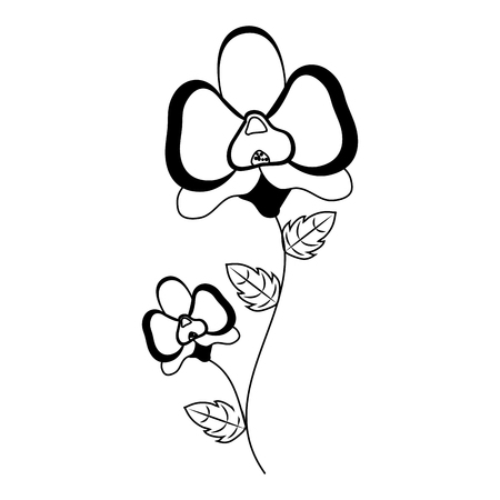 flower with stem and leaves white background vector illustration 向量圖像