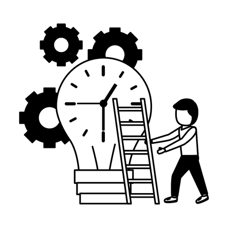 businessman climbing bulb with stairs clock time vector illustration
