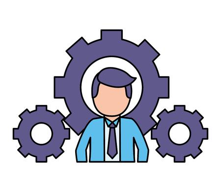 homme affaires, paramètres, engrenages, travail, vecteur, illustration, vecteur, illustration Vecteurs