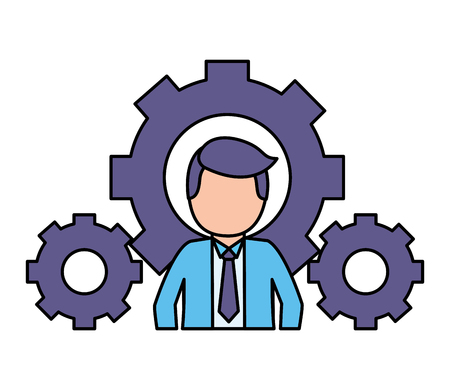 buiness man settings gears work vector illustration vector illustration