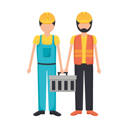 construction workers with toolkit equipment vector illustration Stock Vector - 124298907