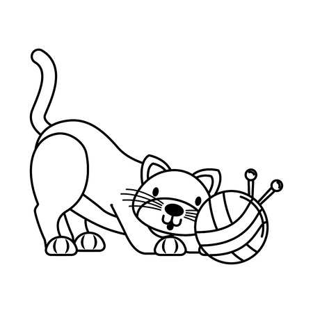 cute cat playing with wool ball vector illustration