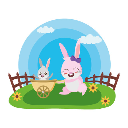 cute rabbit carriyng baby bunny in the grass vector illustration