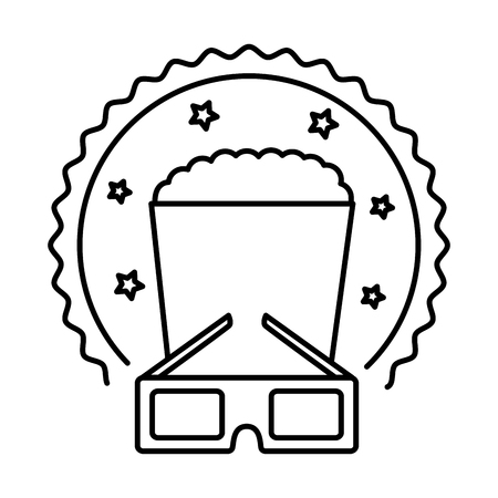 cinema glasses and popcorn isolated icon vector illustration design Illustration
