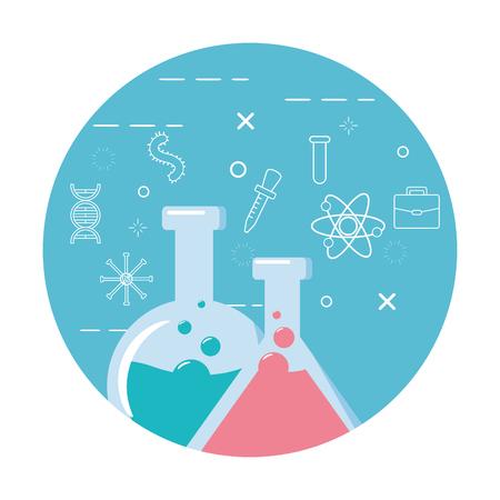Tubes à essai scientifique chimie background vector illustration Vecteurs