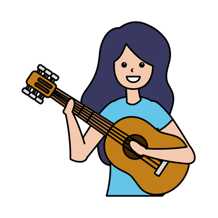 woman playing guitar musician character vector illustration