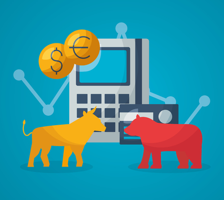 bull bear calculator bank card financial stock market vector illustration Illusztráció