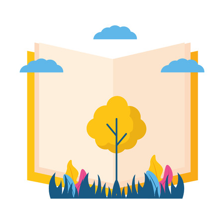 world book day tree nature eco vector illustration