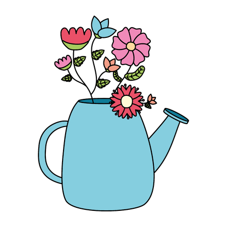 watering can with flowers gardening vector illustration