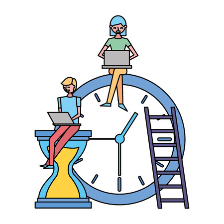 people working with laptop clock time vector illustration Illustration