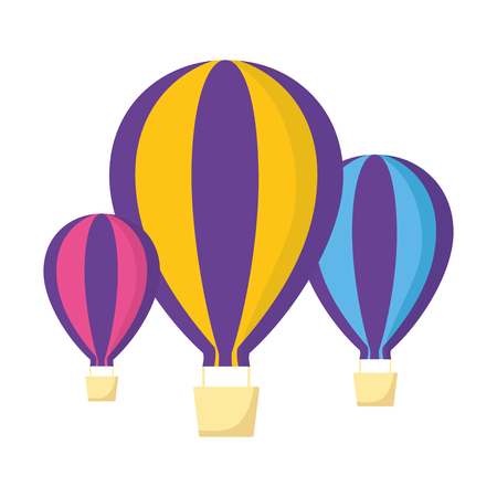 three hot air balloons adventure on white background vector illustration