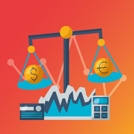 balance calculator money financial stock market vector illustration