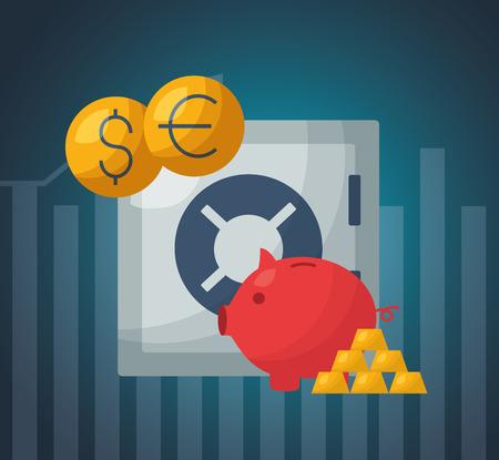 safe box piggy bank gold bars financial stock market vector illustration Illustration