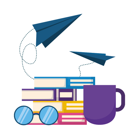 books eyeglasses paper plane coffee cup world book day vector illustration