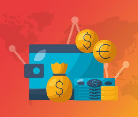 wallet money bank financial stock market vector illustration