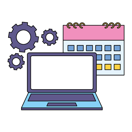 work calendar laptop computer gears vector illustration Çizim