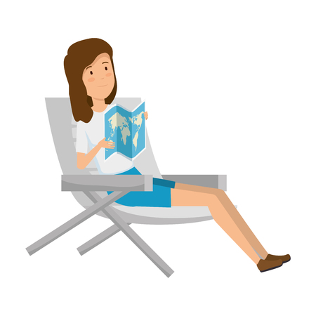 tourist woman sitting in chair with paper map vector illustration design