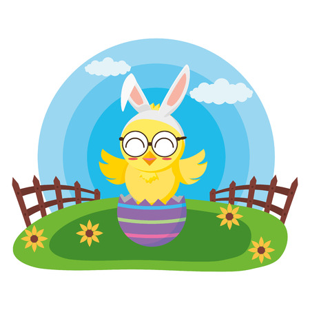 happy easter chick in egg shell grass vector illustration