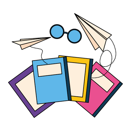 world book day books eyeglasses paper plane vector illustration
