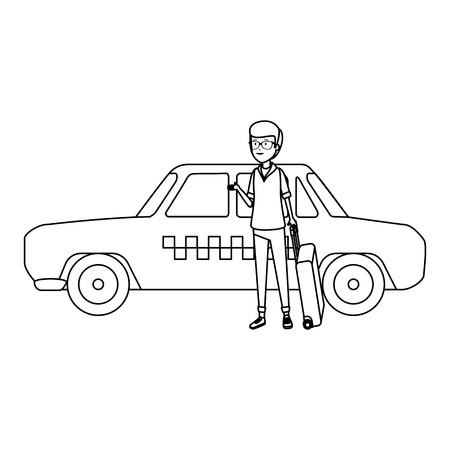 tourist man with suitcases and taxi character vector illustration design Standard-Bild - 124299175