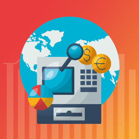 world cash register money exchange financial stock market vector illustration