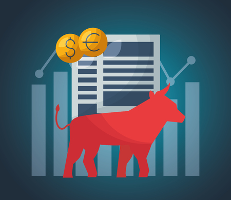 bull papers money financial stock market vector illustration