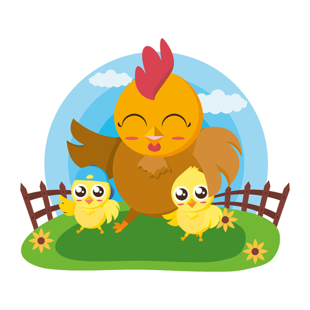 cute hen and chicks in the meadow vector illustration