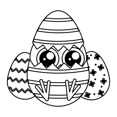 cute little chick with shell egg broken vector illustration design
