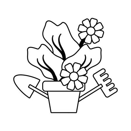 gardening flowers tools shovel rake vector illustration