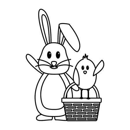 happy easter rabbit chick basket vector illustration Stock Illustratie