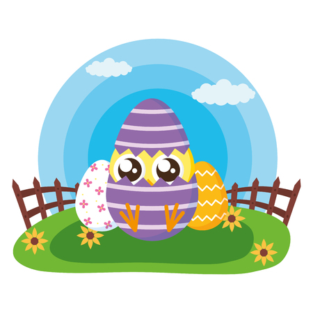 happy easter chick in egg shell in the meadow vector illustration