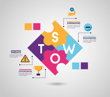swot infographic analysis, colors graphic stats vector illustration Standard-Bild - 119118021