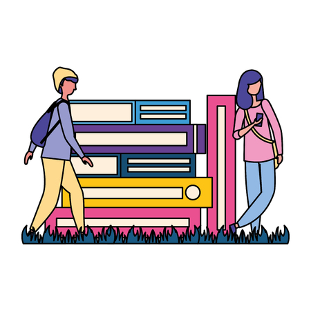 man and woman books stacked learning vector illustration Reklamní fotografie - 124299270