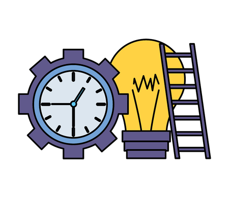 clock time bulb stairs on white background vector illustration vector illustration Illustration