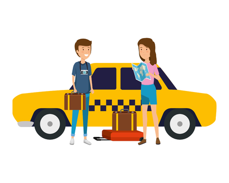 tourist couple with suitcases in taxi characters vector illustration design Standard-Bild - 124299325