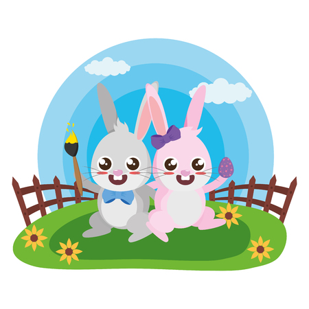 happy easter rabbits couple with egg and brush vector illustration