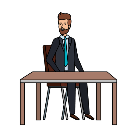 young businessman sitting in chair and table vector illustration design