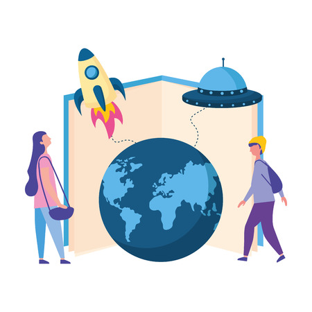 people rocket spaceship imagination world book day vector illustration