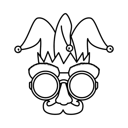 fools day mask glasses and mustache with joker hat vector illustration design