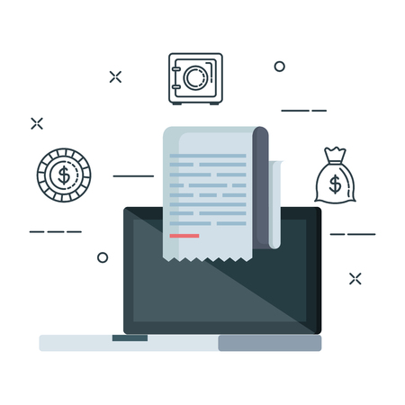 laptop computer and tax financial icons vector illustration design