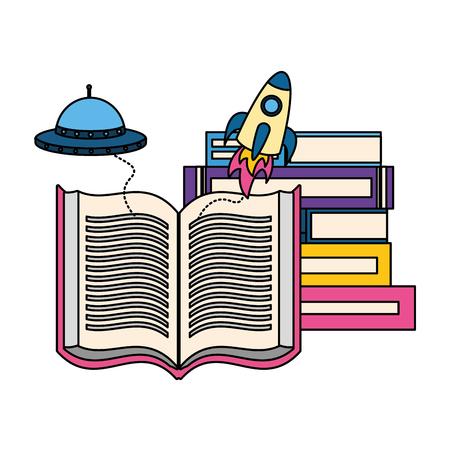 world book day fantasy fiction travel vector illustration Zdjęcie Seryjne - 124299544