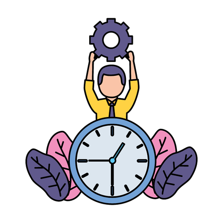 businessman with gear and clock vector illustration vector illustration