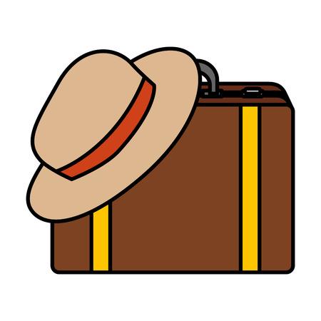 suitcase travel with tourist hat vector illustration design