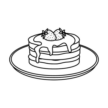 Tortitas con crema de chocolate y fresas, diseño de ilustraciones vectoriales Ilustración de vector