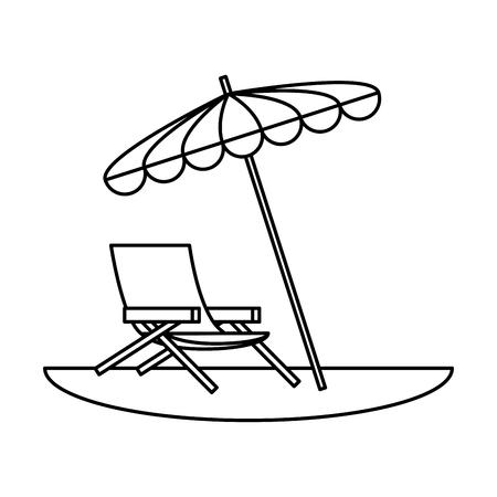 beach chair with umbrella scene vector illustration design